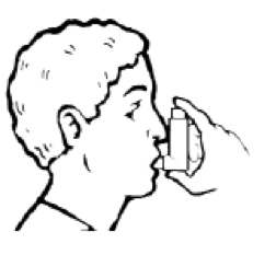 Man with inhaler in his mouth, ready to take a puff.