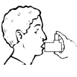 Man demonstrating the proper way to use a spacer with an inhaler, with his lips around the mouthpiece.