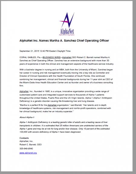 September 2015 Press Release
